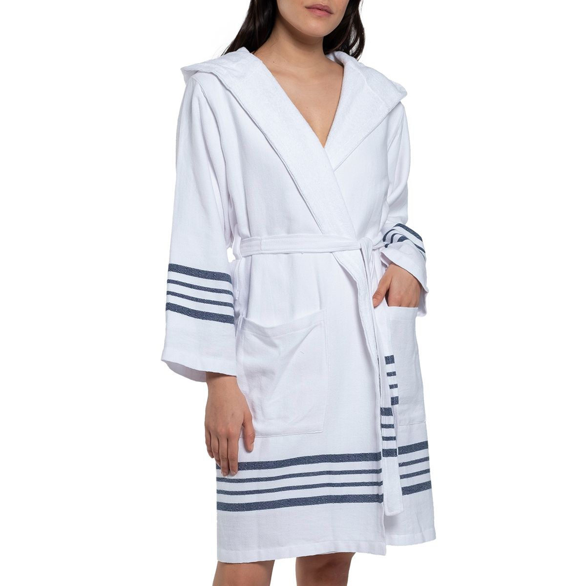 Bathrobe White Sultan with hood & terry - Navy Stripes