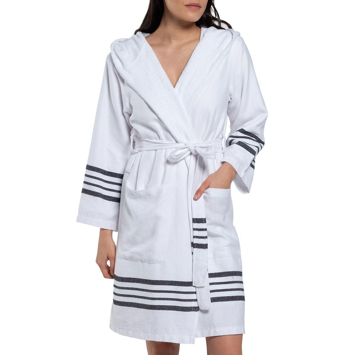 Bathrobe White Sultan with hood & terry - Black Stripes