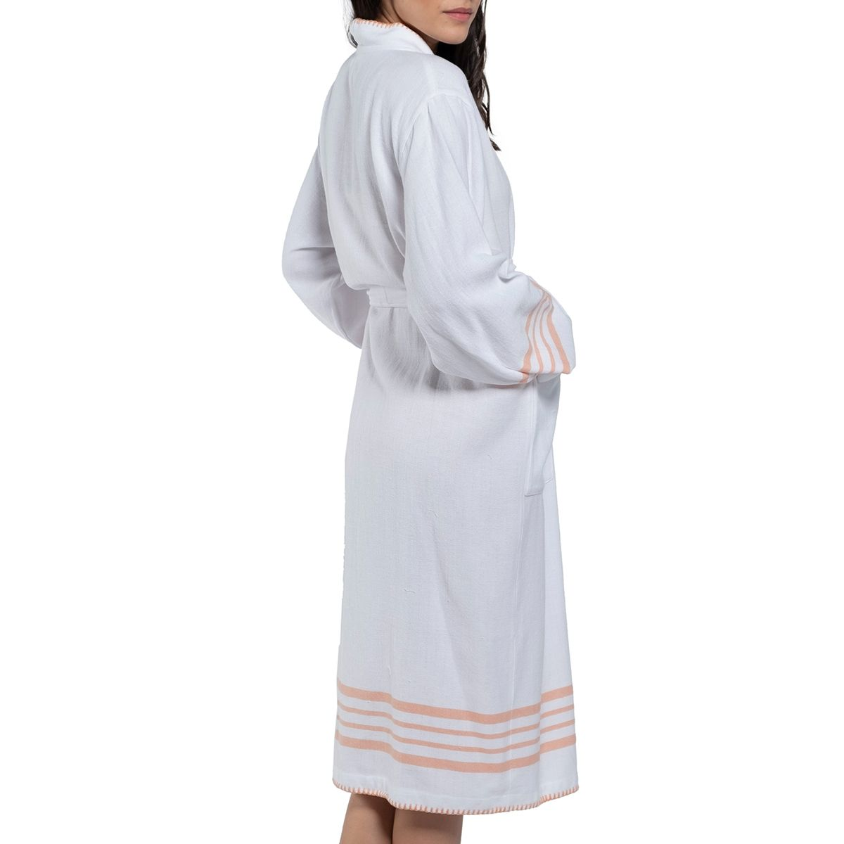 Bathrobe White Sultan - Melon Stripes