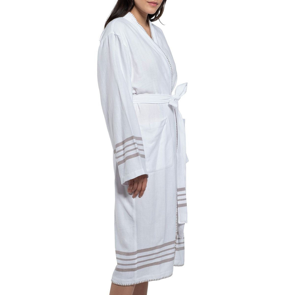Bathrobe White Sultan - Taupe Stripes