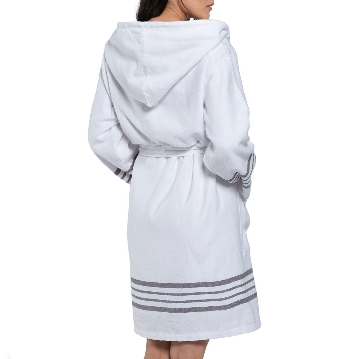 Bathrobe White Sultan with hood & terry - Dark Grey Stripes