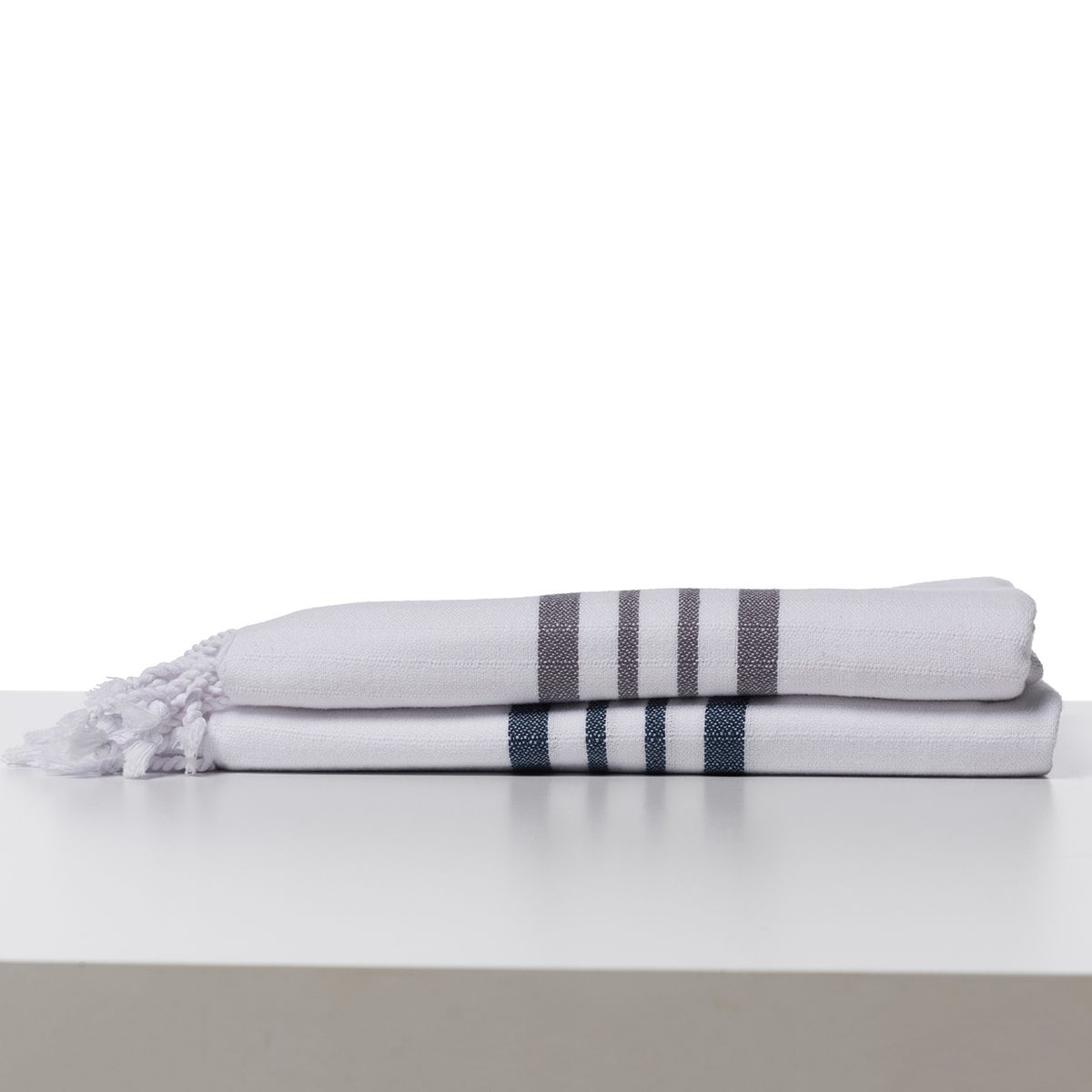 Peshtemal White Sultan / Dark Grey Stripes