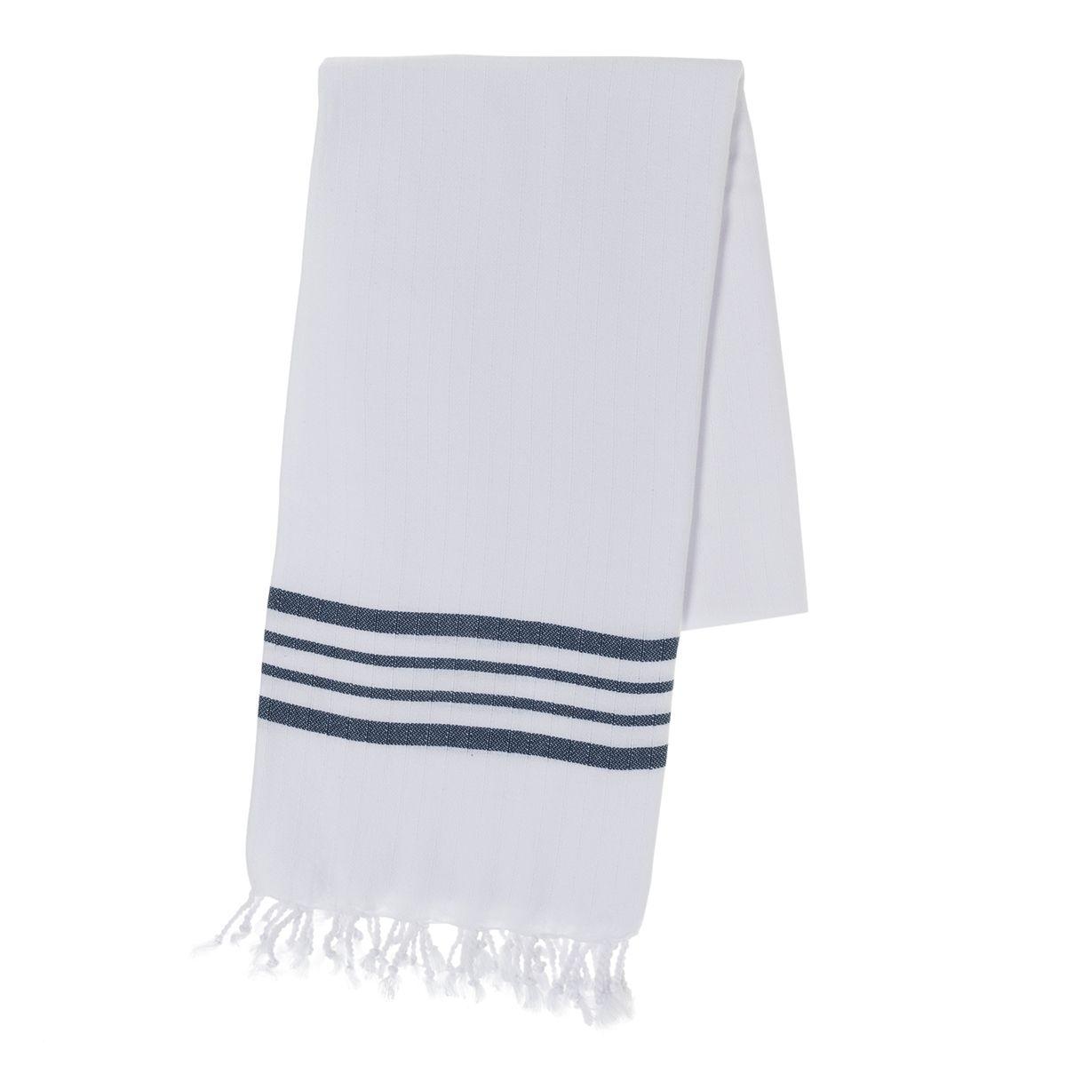 Peştemal Beyaz Sultan - Lacivert Çizgili