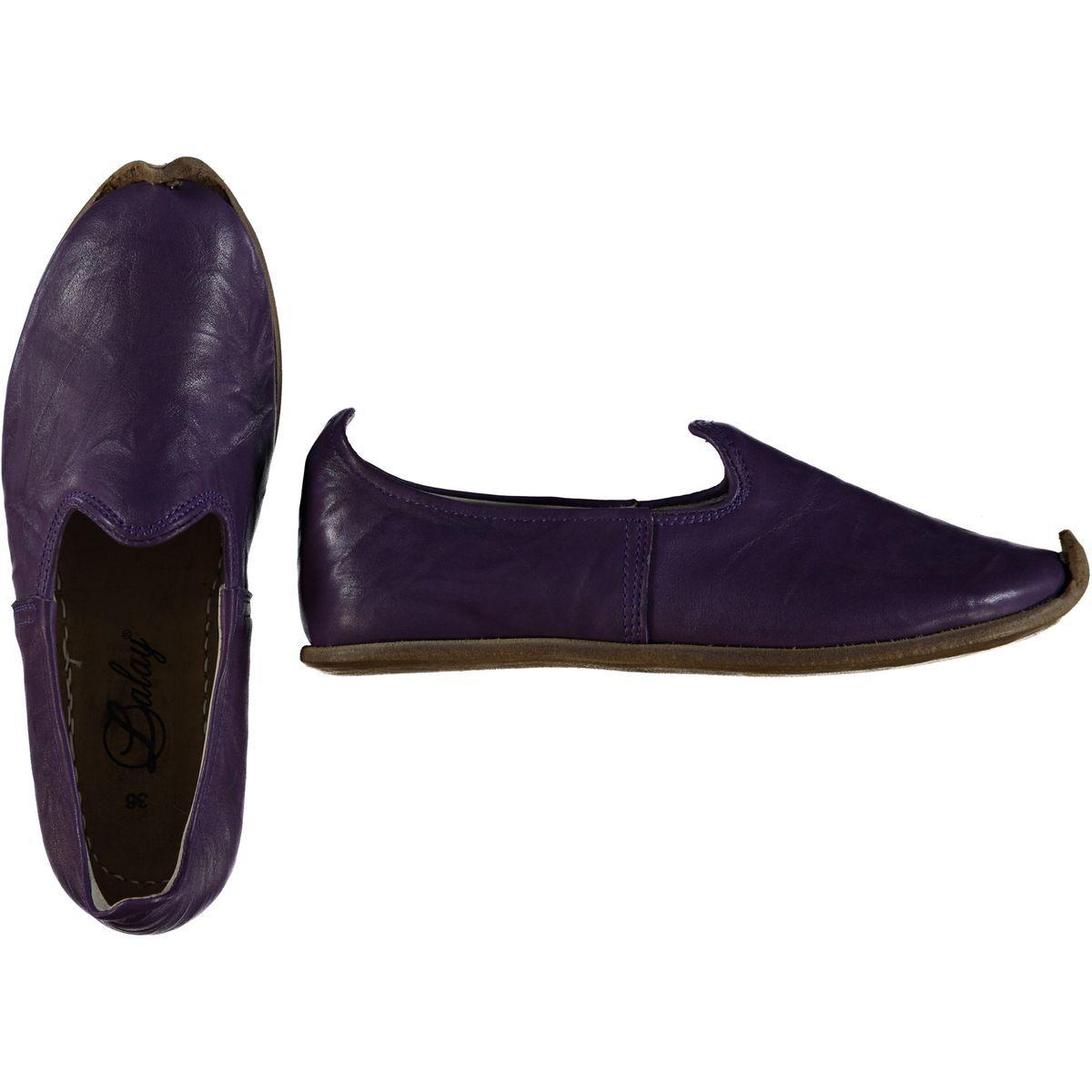 Shoe - Babouche / Leather / Handmade - Dark Purple