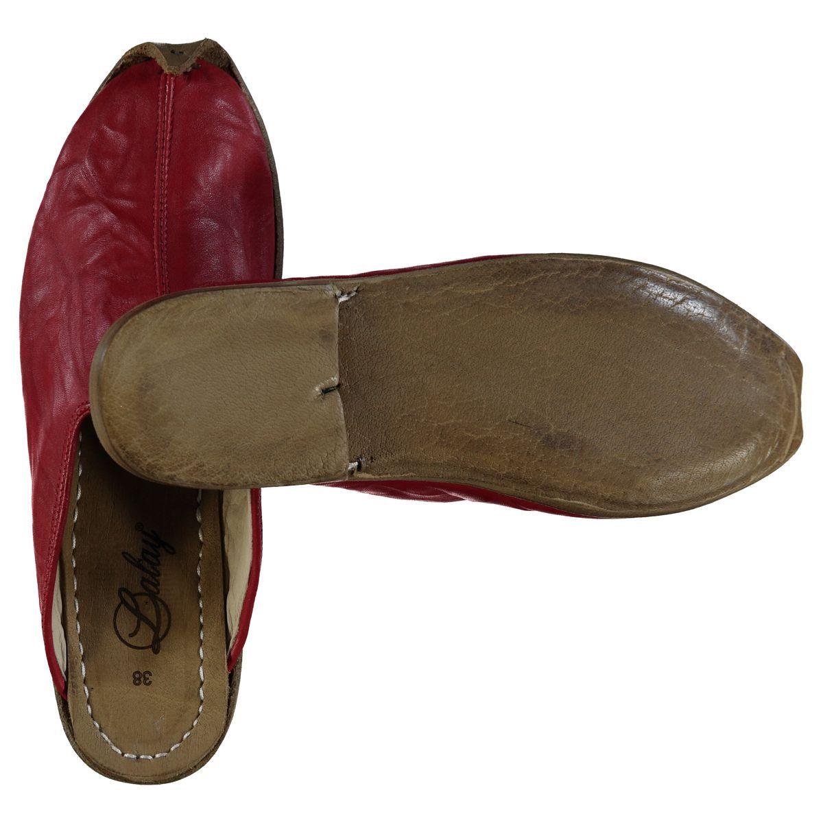 Slipper - Babouche - Leather / Handmade - Red