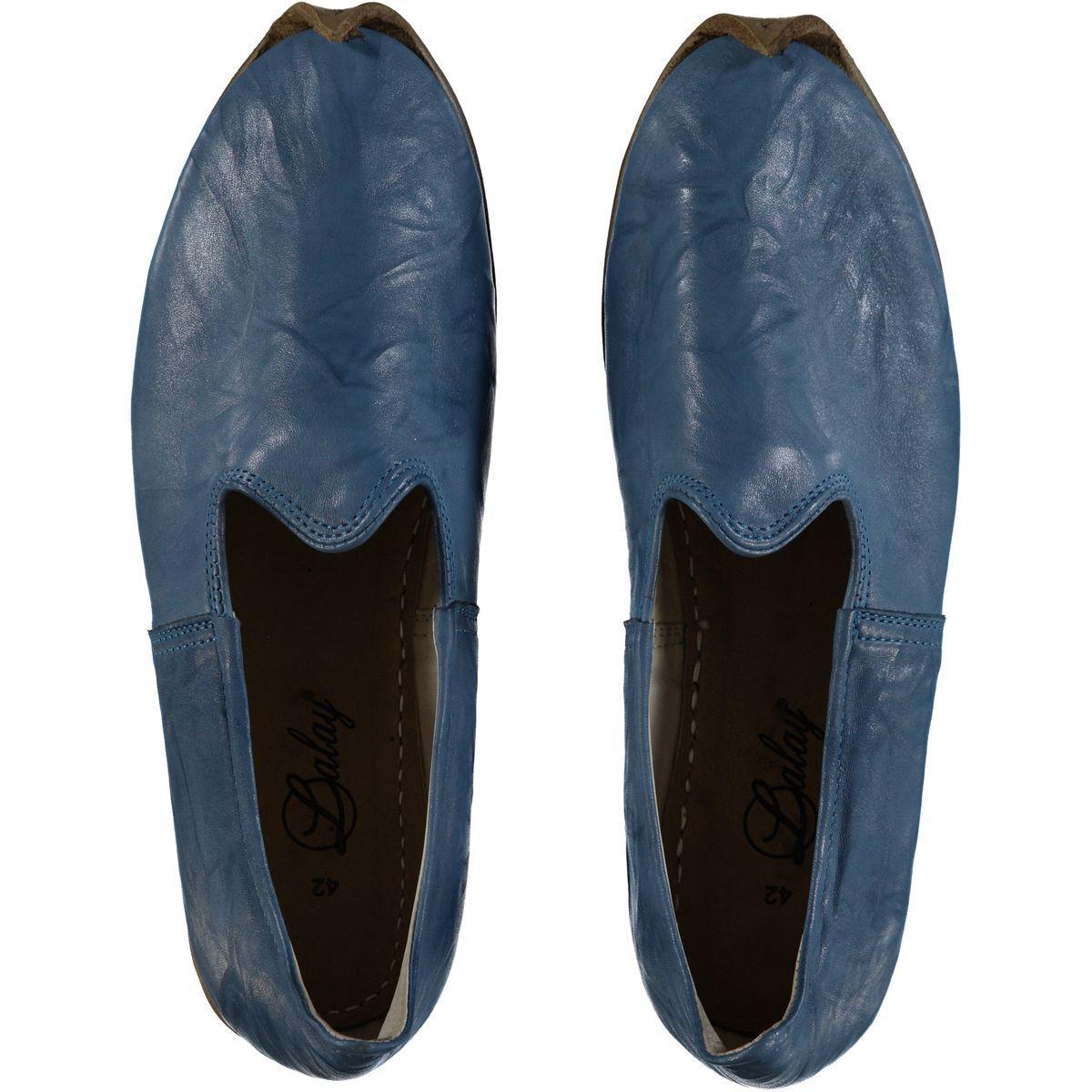 Shoe - Babouche / Leather / Handmade - Blue
