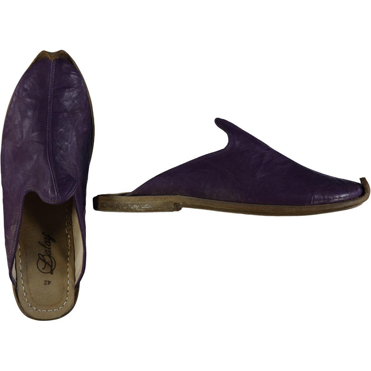 Slipper - Babouche - Leather / Handmade - Dark Purple
