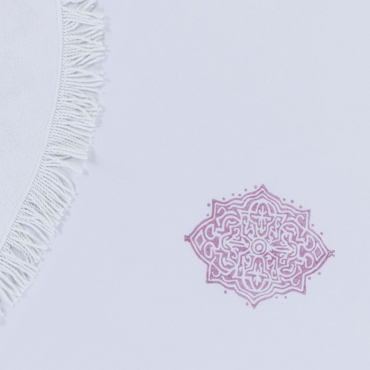 Round Towel / Cloth - White / Hand Printed 02 - Dusty Rose