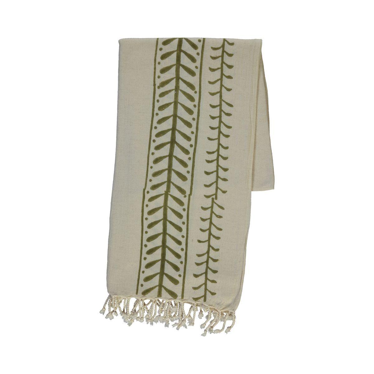 Peshtemal Hand printed 15 - Green