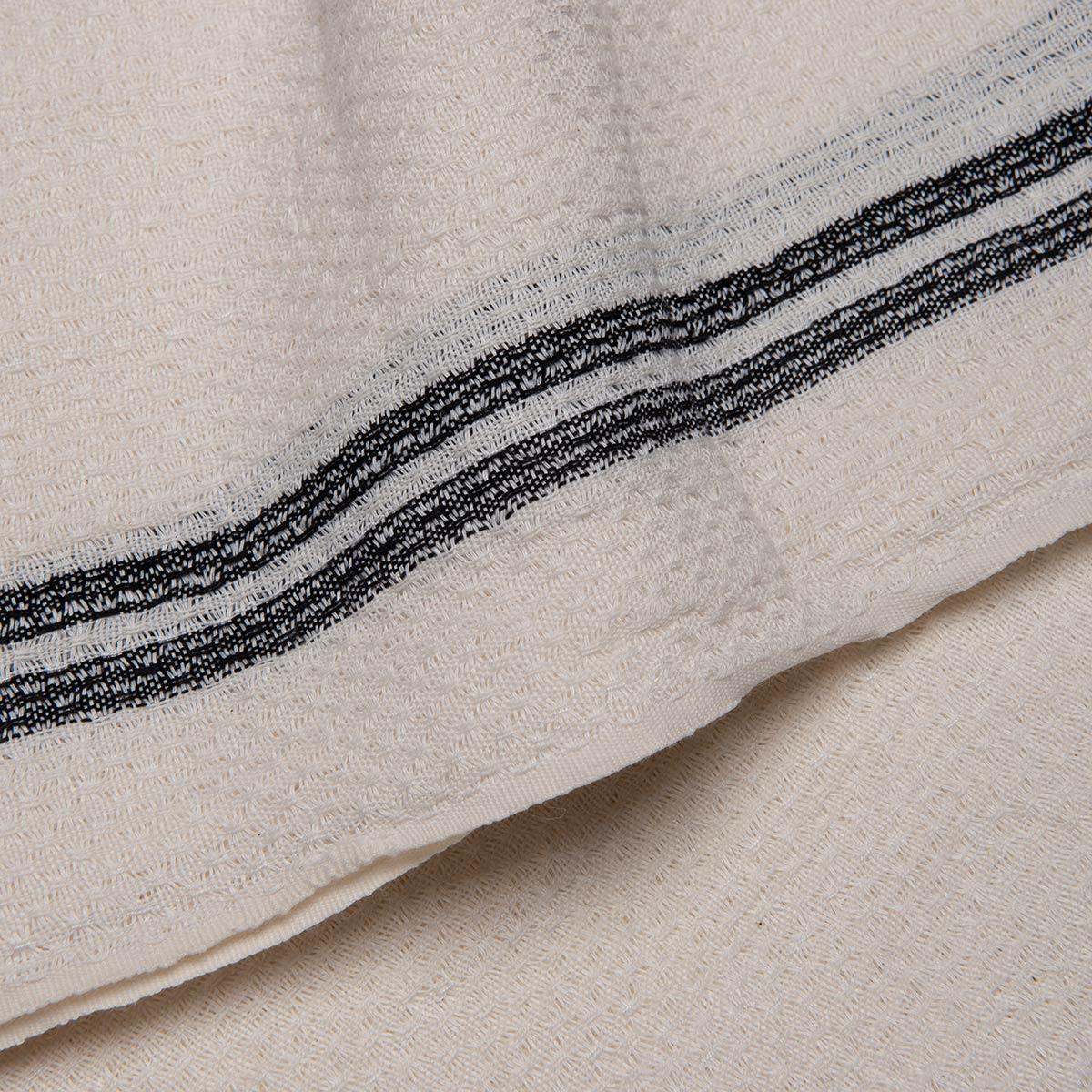 Peshtemal Petek / Ecru - Black Stripes