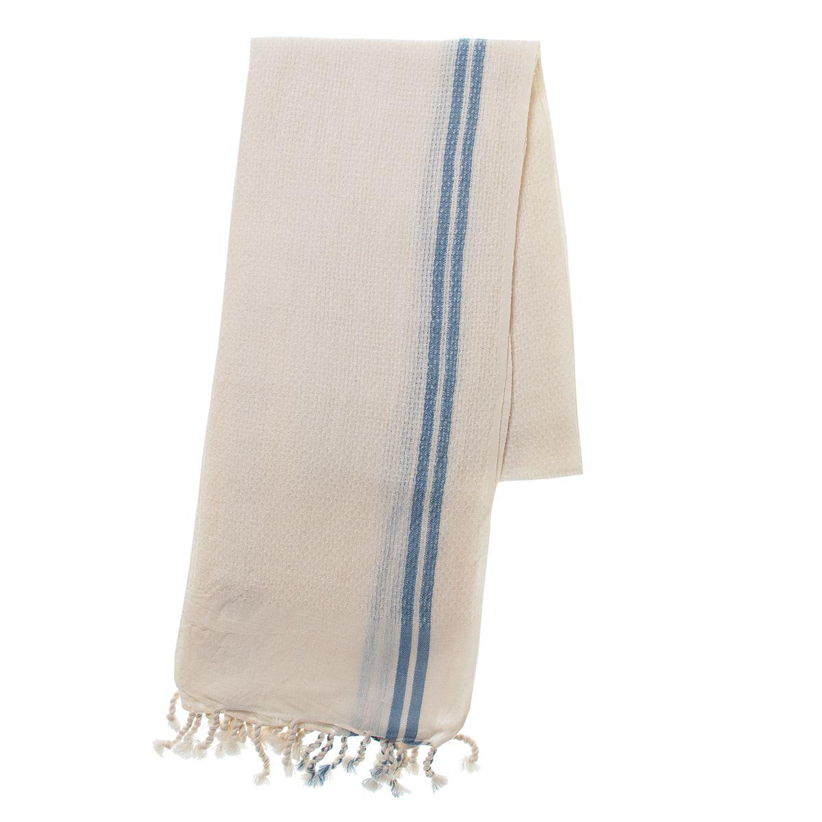 Peshtemal Petek / Ecru - Air Blue Stripes