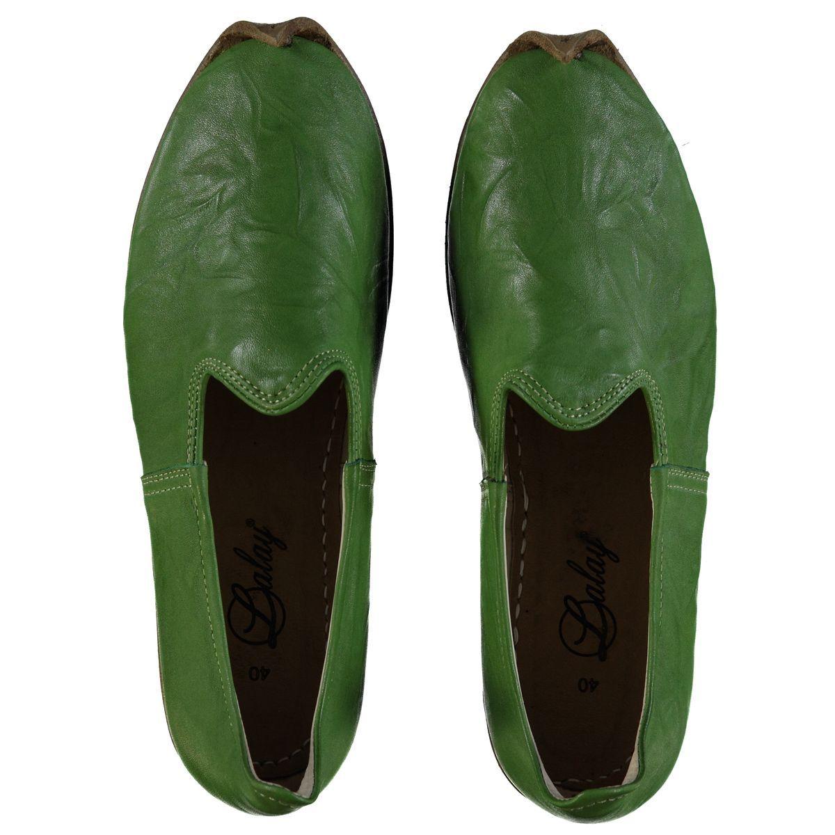 Shoe - Babouche / Leather / Handmade - Green