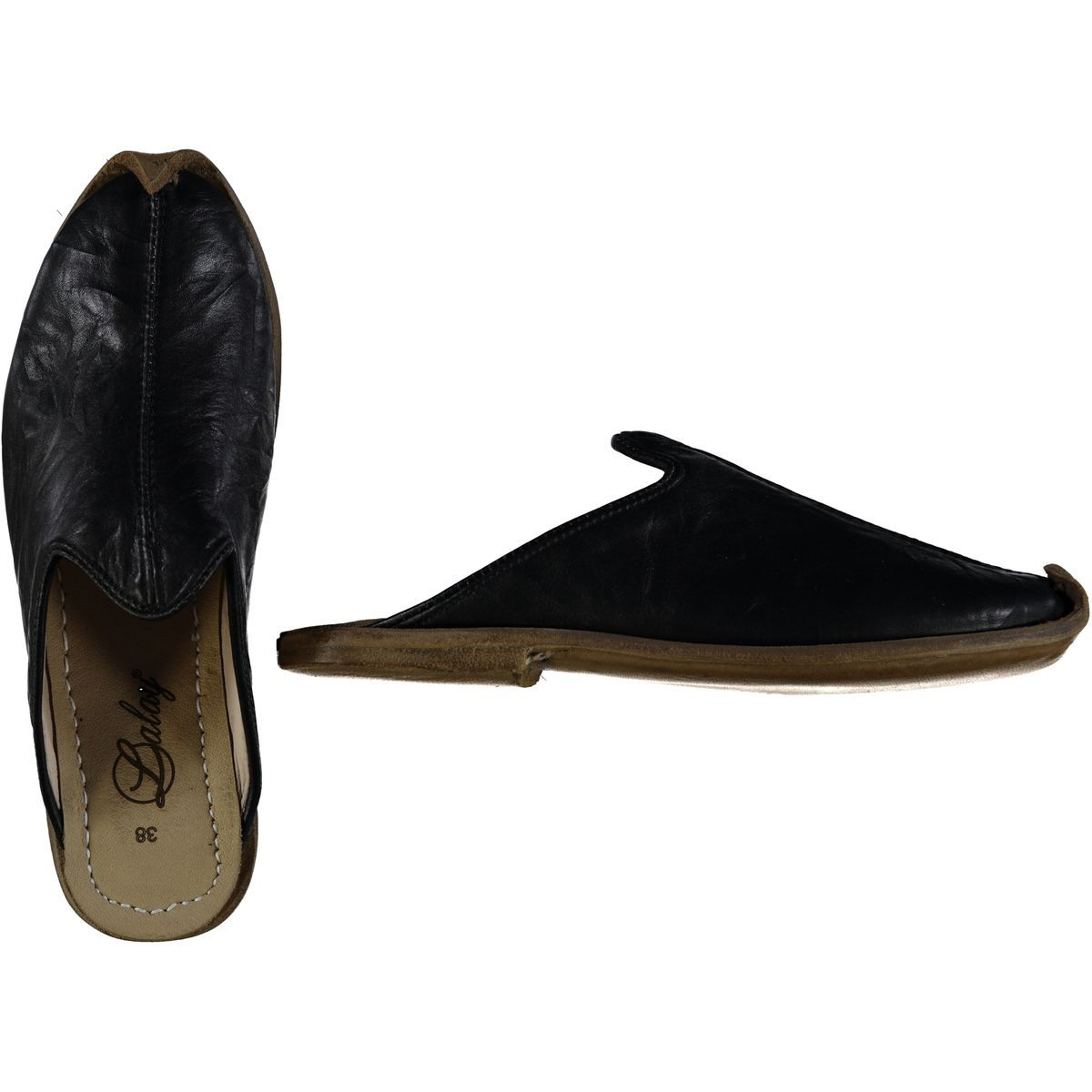Slipper - Babouche - Leather / Handmade - Black