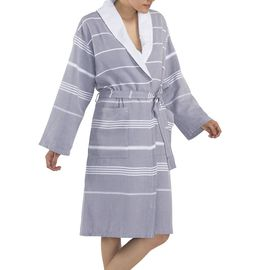 Bathrobe Leyla / With Towel Lining - Light Grey