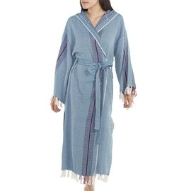 Bathrobe Gocek with hood / Petrol Blue