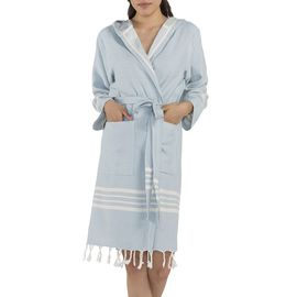 Bathrobe Sultan with hood - Light Blue