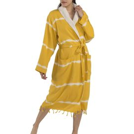 BATHROBE  TIE-DYE / YELLOW W / TERRY