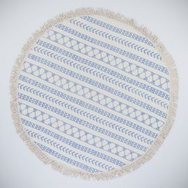 Round Towel / Cloth - Natural / Hand Printed 06 - Blue
