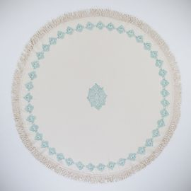 Round Towel / Cloth - Natural / Hand Printed 02 - Mint