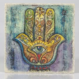 Coaster Travertine - Hand Of Fatima / Colorful 3 (10x10)