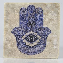 Coaster Travertine - Hand Of Fatima / Blue - (10x10)