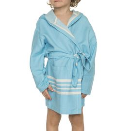 Bathrobe Kiddo with hood  - Turquoise