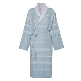 Bathrobe Leyla / With Towel Lining - Light Blue