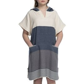 Adult Poncho - Twin Sultan / Navy - Dark Grey