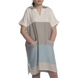 Adult Poncho - Twin Sultan / Taupe - Light Blue
