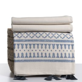 Throw / 14 Hand Printed - Blue with tassel