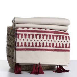Throw / 14 Hand Printed - Bordeaux with tassel