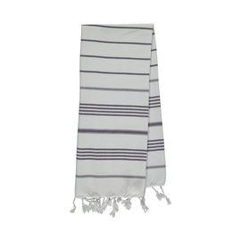Peshkir Leyla - White / Dark Purple Stripes