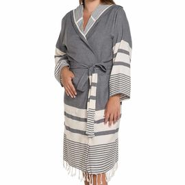 Bathrobe Tabiat with hood - Dark Grey