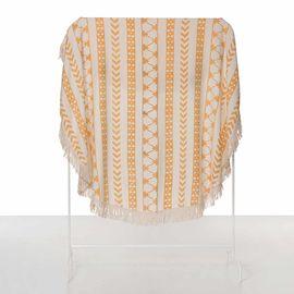 Round Towel / Cloth - Natural / Hand Printed 06 - Orange