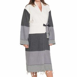 Bathrobe Twin Sultan with towel / Black - Dark Grey
