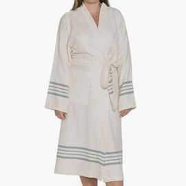 Bathrobe Sultan Kimono - Almond Green Stripes