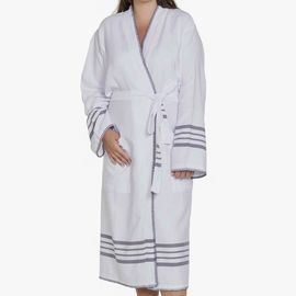 Bathrobe White Sultan - Dark Grey Stripes