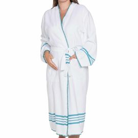 Bathrobe White Sultan - Fanfare Green Stripes