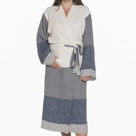 Bathrobe Twin Sultan Kimono - Dark Grey / Navy