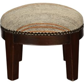 Foot Stool - Wood Legs - Chaput Fabric