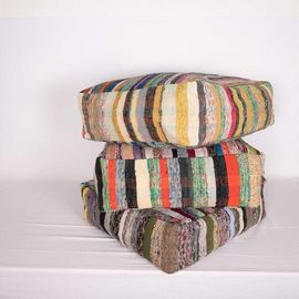 Striped Kilim Pouf Seat - 002