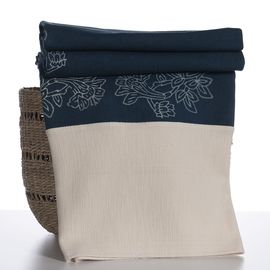 Throw Leyan - Hand printed Denim fabric