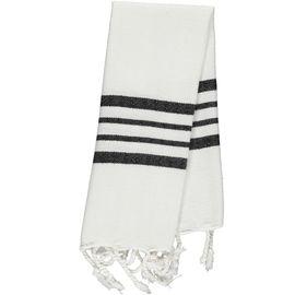 Peshkir Mini / White Sultan - Black Stripes (30x50)