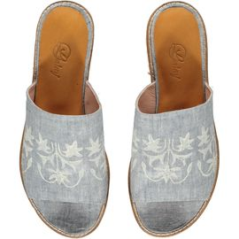 Slipper / Azra - Air Blue - Ecru Hand Printed - Open Toe