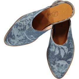 Slipper / Jean - Blue - Ecru Hand Printed - (Closed)