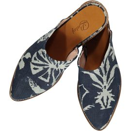 Slipper / Jean - Navy - Ecru Hand Printed - (Closed)