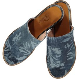 Slipper / Jean - Blue - Ecru Hand Printed - (Open Toe)