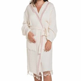 Bathrobe Zehra with hood - Natural - Dusty Rose Vertical Stripes