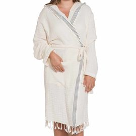 Bathrobe Zehra with hood - Natural - Navy Vertical Stripes