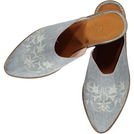 Slipper / Azra - Darker Air Blue - Ecru Hand Printed - Closed
